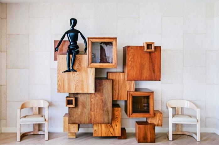 kreativ väggskåp i trä