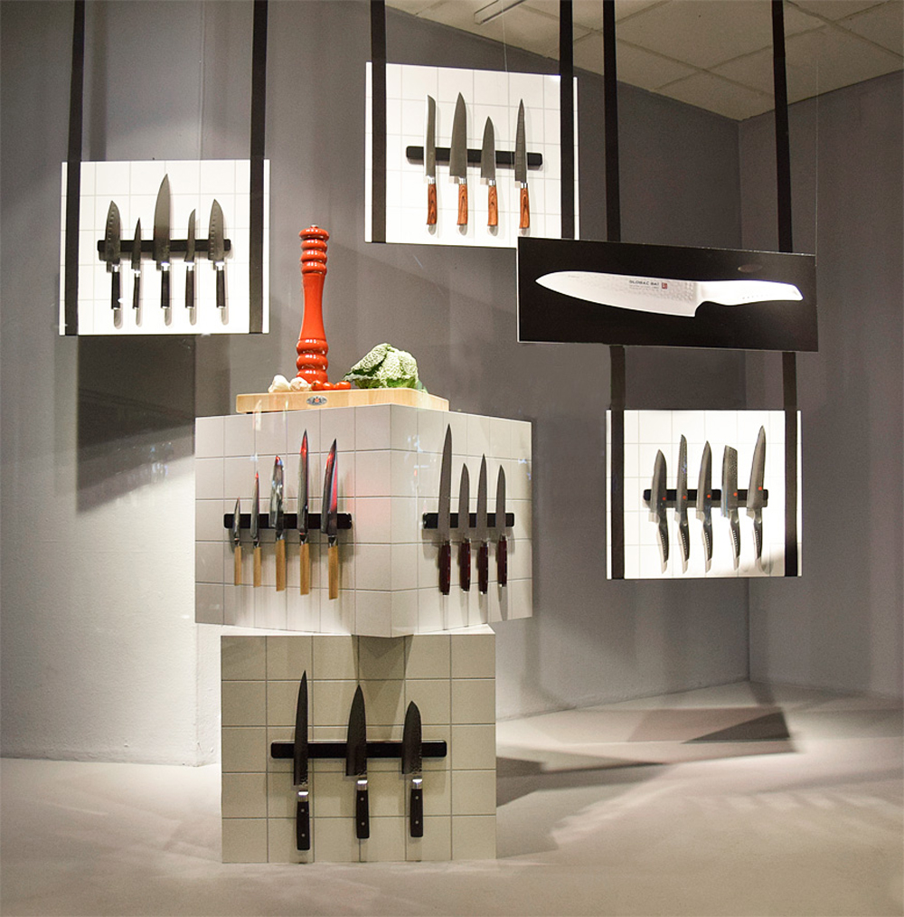 Knivar, köksknivar, skyltfönster, window display