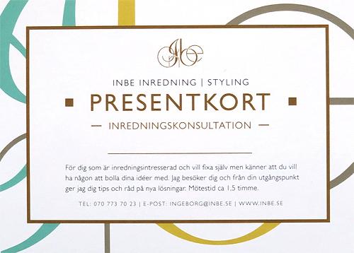 Presentkort för min tjänst inredningskonsultation. Världens finaste present till någon du känner eller varför inte till dig själv!